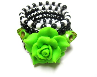 Day of the Dead Bracelet Sugar Skull Jewelry Black White Green Wrap Around Cuff