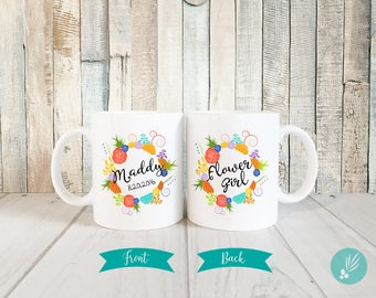 Personalized Flower Girl Proposal Gift, Gift for Flower Girl Mug with Name, Flower Girl Gift for Little Girl, Succulent Wreath Mug, 11 oz