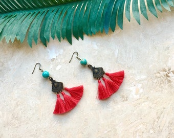 Red tassel earrings, tassel earrings, tassel jewelry, ethnic earrings, ethnic jewelry, gift for her boho jewelry, boho earrings