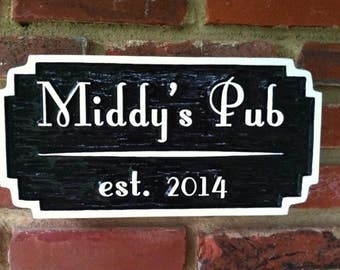Old English Personalized Bar / Pub Sign - Custom Carved