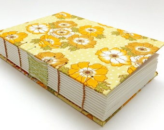 Wedding Guest Book, Retro Fabric, Hand Sewn Notebook, Spring Journal, Yellow Flowers, Keepsake Notebook, Sketchbook