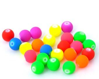 set of 24 beads 6 mm round neon acrylic
