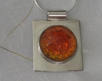 Orange Glass Reflector Necklace in Sterling