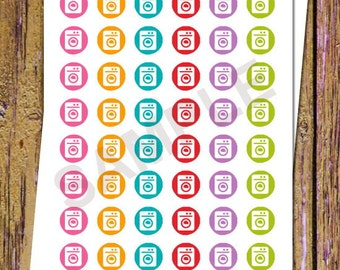 48 Laundry Planner Stickers Washer Stickers Laundry Stickers Functional Stickers Laundry Day Chore Sticker Icon Sticker Cleaning Sticker A49
