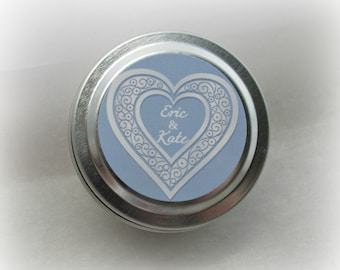 Wedding Shower, Bridal Favor Candles, Bridal Shower, Wedding Favor, Custom, 2 ounce Metal Tin