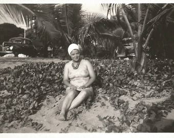 "Vintage Photo ""Optical Illusion"" Floral Swimsuit With Ill-Placed Flowers On Woman's Ample Breasts Black & White Found Vernacular Photo"