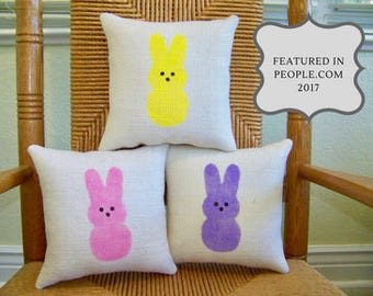 Easter pillow, Peeps pillow, Marshmallow Bunny pillow, Spring pillow, Easter decor, stenciled pillow, Easter decorations, FREE SHIPPING!