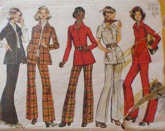 Vintage Woman's Sewing Pattern - Safari Type Shirt Jacket and Pants - Simplicity 5247 - Size 14, Bust 36