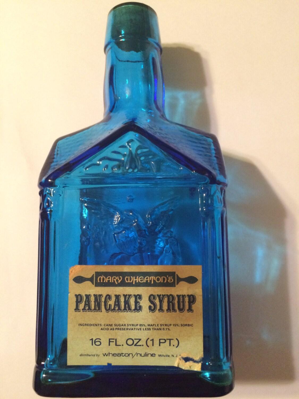 Vintage Mary Wheaton\'s Pancake Syrup Blue Glass 1775 Paul