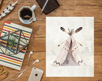 Watercolor Teepee Printable, Native, Tribal Poster, Tribal Nursery Printable Art Print, Watercolor Feathers, Cabin Decor, Download