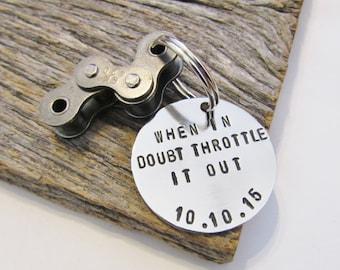 Birthday Gift Friend When In Doubt Throttle It Out Keychain Best Friend Key Chain Boyfriend Motorcycle Key Ring Motosports Gift Rugged Guy