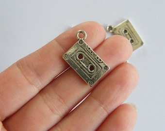 5 Tape cassette charms antique silver tone MN31