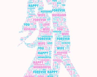Bride groom Personalised Word Art Gift Keepsake  Print or Print and Frame Any Occasion DIGITAL IMAGE .jpg high res for personal printing