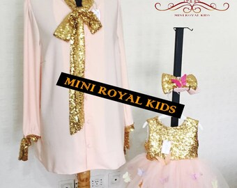 MOMY & I COLLECTION : Mother and daughter handmade golden and pink dress