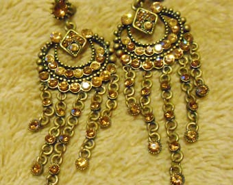 Exquisite Shades of Vintage 1960's Citrine and Amber Czech Glass Chandelier Sparkling Dangle Pierced Earrings