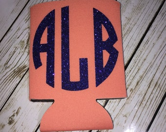 Monogrammed Can Coolers / Glitter monogrammed can holder / Monogrammed glitter can hugger / beverage huggie / can cooler