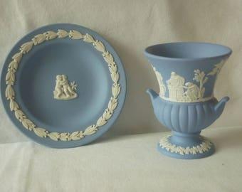 wedgwood blue jasper vase and dish