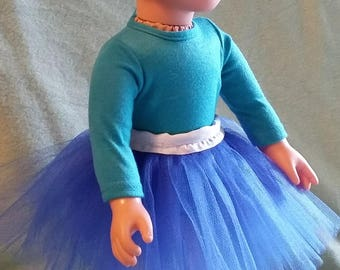 Ocean Blue Tutu for 18-inch Dolls