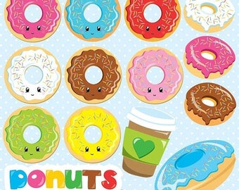 80% OFF SALE Donuts girls clipart commercial use, vector graphics, digital clip art, digital images, music, band - CL870