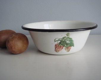 Soviet Vintage Enamel White Bowl, Enamel Kitchenware Berry Decor, Rustic Home Decor, Farmhouse