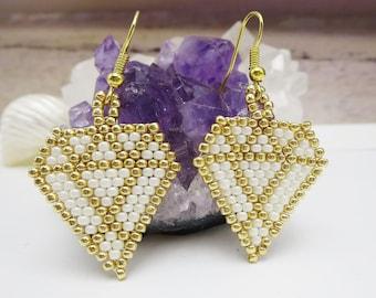 White Diamond Earrings, Gold Women's Jewelry, Arrow Shape Beaded Accessories, Lightweight Statement Earrings, Birthday Gift for Girlfriend