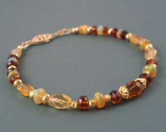Opal Bracelet, Ethiopian Fire Opals, Yellow and Amber Citrine, Vermeil Spacers, Extreme Fire, Fire Opal Bracelet, Fire Opal Jewelry