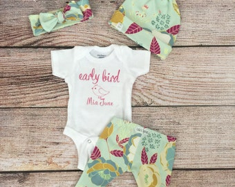 Early Bird outfit / baby outfit/ coming home outfit / floral leggings/ baby gift / newborn outfit / baby girl outfit
