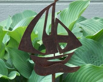 Sail Boat Steel Garden Stake, Rusty Garden Decor Sail Boat