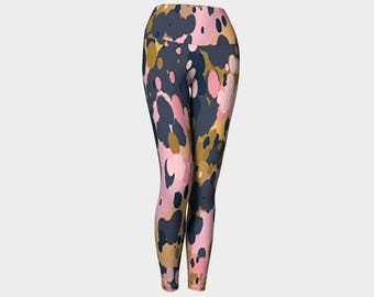 Splatter pink, gold and slate Yoga Leggings, Women's Yoga Leggings, Leggings, Yoga Leggings, Yoga Pants, Printed Leggings, Gift for her