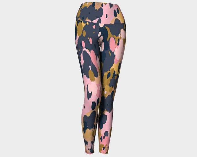 Splatter pink, gold and slate Yoga Leggings, Yoga Leggings, Yoga Pants, Women's Yoga Leggings, Leggings, Printed Leggings, Gift for her
