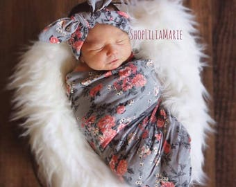 Swaddle Blanket, Grey Floral Swaddle, Grey Swaddle Set with Headband, Swaddle Blanket Set, Girl Blanket, Baby Swaddle, Coming Home Outfit