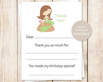 PRINTABLE mermaid thank you cards . fill in the blank . birthday thank you . under the sea. brunette mermaid . Instant Download YOU PRINT