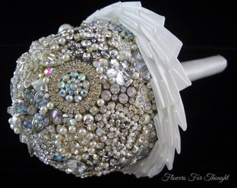 White and Silver Brooch Bouquet, Bejeweled Wedding Keepsake Posy with Heart
