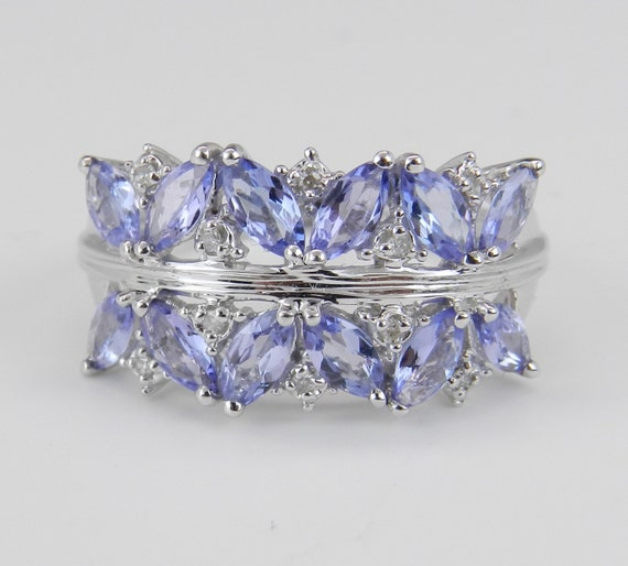 Tanzanite and Diamond Anniversary Band Wedding Ring Flower Cluster Ring 14K White Gold Size 7
