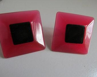 Red and Black Earrings Stud Earrings Square Earrings Black and Red Jewelry 80s earrings 80s Jewelry