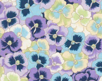 Chiyogami or yuzen paper - wow, pop up pansies -  calm shades of light blue, lavender and celery green with gold outlines, 9x12 inches