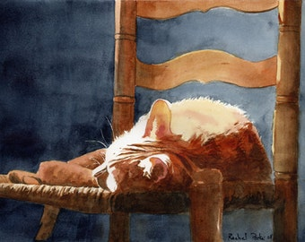 Orange Marmalade Ginger Tabby Cat Art Print of my watercolor painting Giclée large huge big