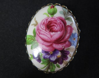 Vintage Floral Scarf Clip, Pink Rose, Pansy, Adjustable Pin/ Brooch