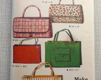Handbag Wardrobe Incl Large or Smaller Open Totes Small and Large Envelope Bag or Clutch All Uncut/FF Vintage Butterick Sewing Pattern 3264