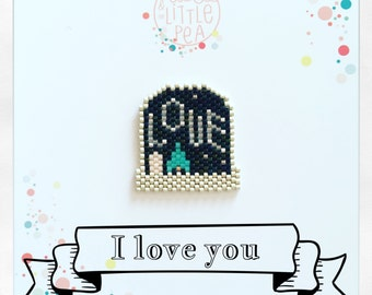 snowball brooch starry with message love miyuki delica-atmosphere constellation magical - peyote stitch beadwoven