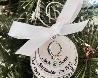 Sale! Our first Christmas as Mr and Mrs first Christmas married engagement ring charm personalized wedding ornament custom ornament gift
