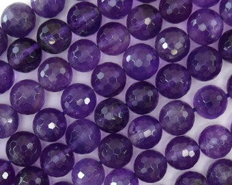 "10mm faceted purple amethyst round beads 15.5"" strand 39248"