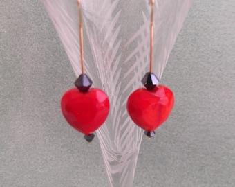 Simple Red Heart Earrings