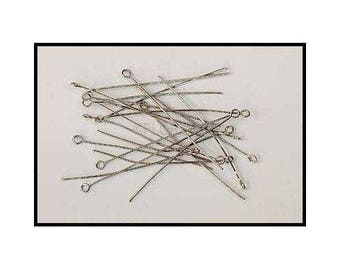 25 PCs Œil 50Mm in antique silver head pin (matte) or shiny