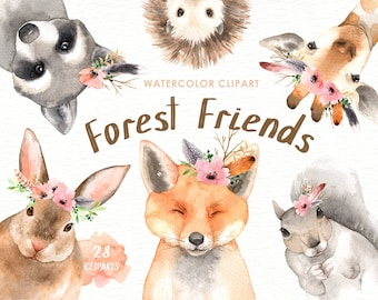 Forest Friends Watercolor Clip Art,Woodland Animals, Kids Clipart,Boho Clipart, Nursery Decor, Animal with flower crown, deer rabbit giraffe