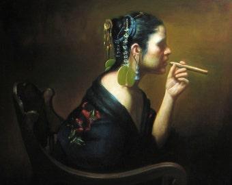 Cigar Smoker - Limited Edition Giclee Print