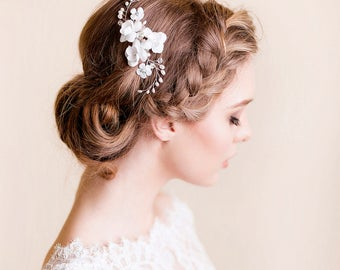 Bridal Hair Accessory - Flower Hair Comb with Freshwater Pearls - Wedding Flower Comb - Bridal Pearl Headpiece