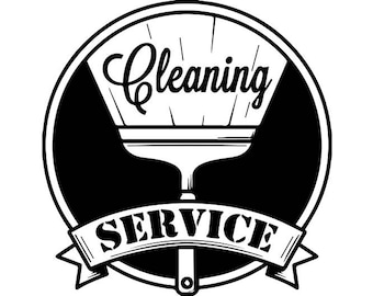 Cleaning Logo #15 Maid Service Housekeeper Housekeeping Clean Vacuum Mop Floor .SVG .EPS .PNG Digital Clipart Vector Cricut Cutting Download