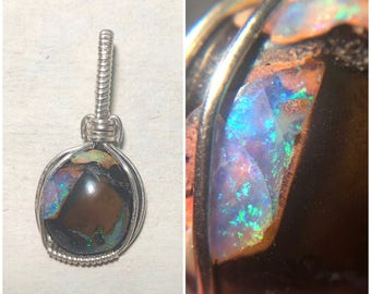 Sterling Silver Wire Wrapped Boulder Opal Pendant, Wire Wrapped Jewelry, Wire Wrapped Pendant, Heady Wire Wrap, Opal Wire Wrap