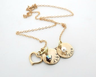 Personalized Necklace with Birthstone - Gold Heart Necklace - Kids Names - Grandma - Mothers - Personlaized Jewelry - Family - Grandkids